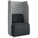 Soft-Seating-System BE SOFT, Sessel, ohne Tisch, m. Akustik-Panel, schwarz-grau