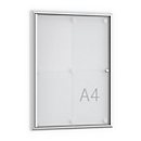 Softline platte wandvitrine MSK, met frame loze deur, 4 x A4