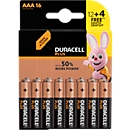Sparset DURACELL® Batterie Plus Power, 1,5 V, Micro AAA, 16 Stück