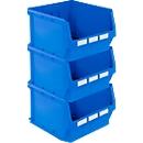 Sparset Sichtlagerkasten LF 543, Polypropylen, B 500 x T 470 x H 300 mm, 57 l, blau, 3 St.