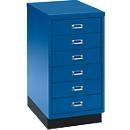SSI Schubladenschrank DIN A3, 6 Schübe, 675 mm hoch, enzianblau