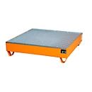 Stahl-Auffangwanne mit Gitterrost, 1200 x 1200 mm, orange RAL 2000