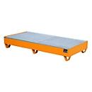 Stahl-Auffangwanne mit Gitterrost, 1800 x 800 mm, orange RAL 2000