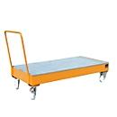 Stahl-Auffangwanne mit Rollen + Griff, 1800 x 800 mm, orange RAL 2000