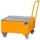 Stalen lekbak met wielen + greep, 800 x 800 mm, oranje RAL 2000