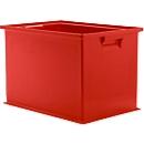 Stapelbak serie 14/6-2Z, van polypropeen, met handgreep, inhoud 33 l, rood