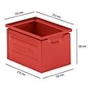 Stapelbak serie ST14/6-4, van staal, inhoud 3,2 l, ideaal voor zware goederen, rood