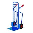 Stapelkarre groß mit Gitter-Rückwand, Tragkraft 250 kg, Luft-Bereifung