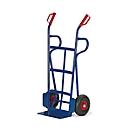 Steekwagen, gebogen achterkant en laadvlak, extra steunbeugels, luchtbanden, draagvermogen 250 kg