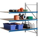 Stellingsysteem WR 600, aanbouwsectie, dwarssteun blauw, met 3 niveaus, 2500 x 1500 x 800 mm