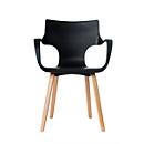 Stoel Paperflow Rockwood, massief hout, ergonomisch verantwoord. PP zitschaal, met armleuningen, zwart, set van 2 stuks, zwart