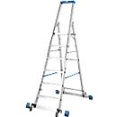 Stufenstehleiter, mit 6 Stufen, Aluminium, fahrbar mit Traverse