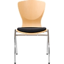 Stuhl Bingo, mit Sitzkissen, ohne Armlehnen, buche/schwarz
