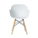 Stuhl Paperflow Kiwood, Massivholz, Metallvertrebungen, ergonomische PP-Sitzschale, weiß, 2er-Set