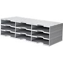styro® sorteerstation styrodoc Standaard, C4, 3 etages/3 rijen/9 vakken, grijs/grijs