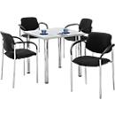 Tafel met 4 stoelen, lichtgrijs, 800 x 800 mm