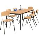Tafel met stalen buizen met 6 stapelstoelen, onderstel tafel zwart/stoel bruin