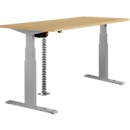 Tafel, tweetraps elektrisch in hoogte verstelbaar, B 1600 mm, beukenpatroon/aluminium zilver
