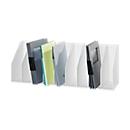 Tijdschriftenhouder, wit, met vaste indeling, 9 vakken voor ordners