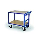Tischwagen, 2 Ladeflächen, Totmannbremse, Tragkraft 500 kg, 1000 x 700 mm
