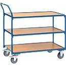 Tischwagen, 3 Ebenen, Stahl/Holz, blau-buche, B 850 x T 500 mm, bis 300 kg, TPE-Bereifung