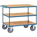 Tischwagen, schwer, 3 Etagen, 850 x 500 mm, bis 500/600 kg, Stahl/Holz, blau/buche