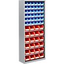 TOP FIX kast met legborden, 1575 mm hoog, 11 legborden, 60 bakken, zonder deuren, lichtzilver