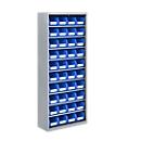 TOP FIX kast met legborden, 1575 mm hoog, 9 legborden, 40 bakken, zonder deuren, lichtzilver