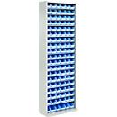 TOP FIX kast met legborden, 2000 mm hoog, 18 legborden, 114 bakken, zonder deuren, lichtgrijs