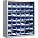 TOP FIX kast met legborden, 780 mm hoog, 6 legborden, 42 bakken, zonder deuren, lichtzilver