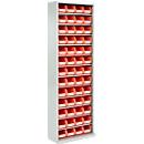 TOP FIX-Regalschrank, 2000 mm hoch, 12 Böden, 52 Kästen, ohne Türen, lichtgrau
