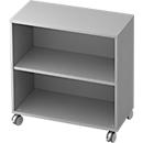 TOPAS LINE verrijdbare boekenkast, spaanplaat, 2 OH, B 800 x D 400 x H 820 mm, lichtgrijs
