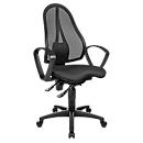 Topstar bureaustoel BALANCE 400 NET, permanent contact, met armleuningen, fitness-orthozitting, zwart