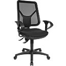 Topstar bureaustoel ERGO NETZ, permanent contact, zonder armleuningen, gazen rugleuning, ergonomisch gevormde wervelsteun, zwart