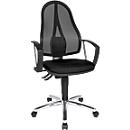Topstar bureaustoel Point Net, permanent contact, met armleuningen, verstelbare gazen rugleuning, zwart