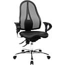 Topstar bureaustoel SITNESS 15, met armleuningen, 3D permanentcontactmechanisme, fitness-orthozitting, netrugleuning, zwart/chroomzilver