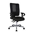 Topstar OPEN XT bureaustoel, met armleuningen, synchroonmechanisme, kuipzitting, netrugleuning, zwart/verchroomd zilver