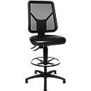 Topstar werkstoel TEC 80 met glijder en voetenring, zwart