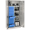 Veiligheidskast conform IP 54 met 13 schuifladen, B 950 x D 525 x H 1936 mm, aluminium zilver