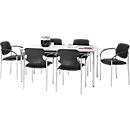 Vergadertafel 1600 x 800 mm lichtgrijs + 6 bezoekersstoelen SET
