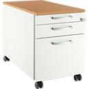 Verrijdbaar ladeblok 126, 3 schuifladen, Handgreep rond wit/blank aluminium/beukenpatroon