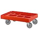 Verrijdbaar onderstel voor containers, 610 x 410 mm, vuurrood RAL 3000