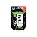 Voordeelpakket 2 x HP inktpatronen Nr. 338/343 zwart, color (SD449EE)