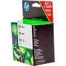 Voordeelpakket 3 x HP inktpatronen Nr. 301 zwart, color (E5Y87EE)
