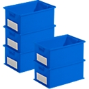 Voordeelset stapelbakken serie 14/6-2, PP-kunststof, inhoud 21 liter, blauw, 5 stuks