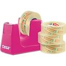 Voordeelset tafelafroller tesa Easy Cut® COMPACT + 4 rollen tesafilm®, Afroller in roze