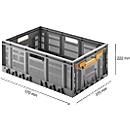 Vouwkrat, recyclebaar & stapelbaar, draagvermogen 20 kg,  600 x 400 x 233 mm, grijs