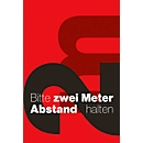 Vuilvangmat, houd 2m afstand, binnenin, polyamide/vinyl, L 1800 x B 1200 mm, rood/zwart/wit