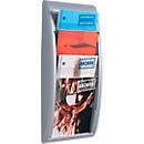 Wandfolderhouder Quickfit, 4 vakken, A4, aluminium kleur