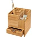 Wedo Tischorganizer Bambus Würfel, mit Klebefilmabroller, Stifteinsatz, Schublade